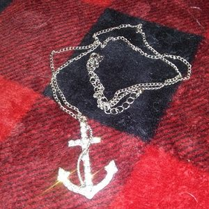 Icing White Gemmed Silver Anchor Necklace
